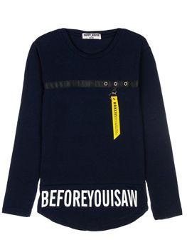 Tmavě modré chlapecké tričko s dlouhými rukávy s potiskem Bolf HB1906