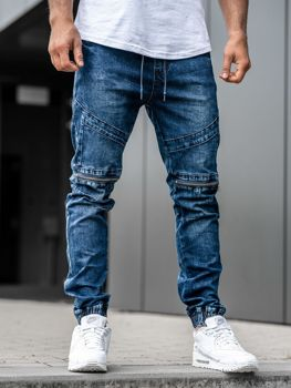 Tmavě modré pánské džínové jogger kalhoty Bolf KA575