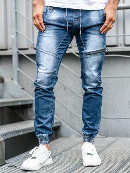 Tmavě modré pánské džínové jogger kalhoty Bolf KA762
