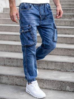 Tmavě modré pánské džínové jogger kapsáče Bolf K10005
