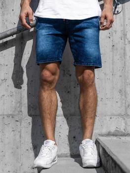 Tmavě modré pánské džínové kraťasy Bolf KK109