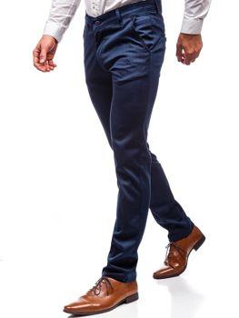 Tmavě modré pánské společenské kalhoty Bolf 7625