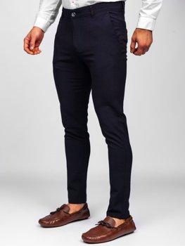 Tmavě modré pánské textilní chino kalhoty Bolf 0015