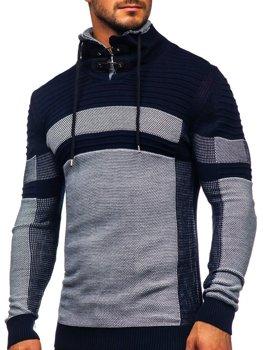 Tmavě modrý silný pánský svetr s vysokým límcem Bolf 1053