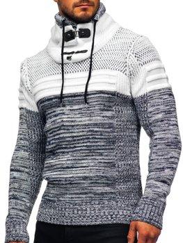 Tmavě modrý silný pánský svetr s vysokým límcem Bolf 2058