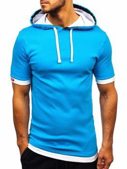 Tyrkysové pánské tričko s kapucí Bolf 08-1