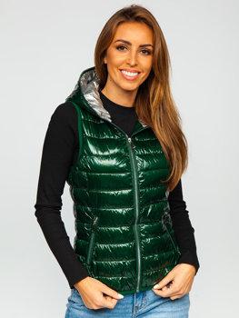 Zelená dámská prošívaná vesta s kapucí Bolf 9563