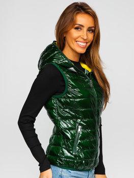 Zelená dámská prošívaná vesta s kapucí Bolf R9549
