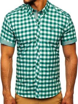 Zelená pánská kostkovaná košile s krátkým rukávem Bolf 6522