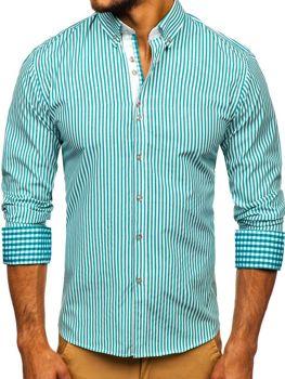 Zelená pánská proužkovaná košile s dlouhým rukávem Bolf 9711