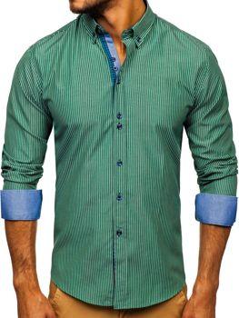 Zelená pánská proužkovaná košile s dlouhým rukávem Bolf 9714