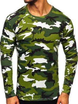 Zelené pánské maskáčové tričko s dlouhým rukávem Bolf 2088-1