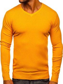 Žluitý pánský svetr s výstřihem do V Bolf YY03
