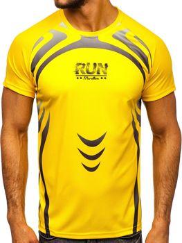 Žluté pánské sportovní tričko s potiskem Bolf KS2062