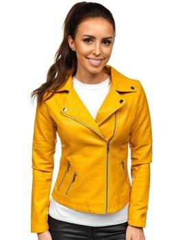 Žlutý dámský koženkový křivák bunda Bolf R18