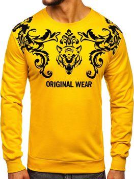 Żółta z nadrukiem bluza męska bez kaptura Denley HY697
