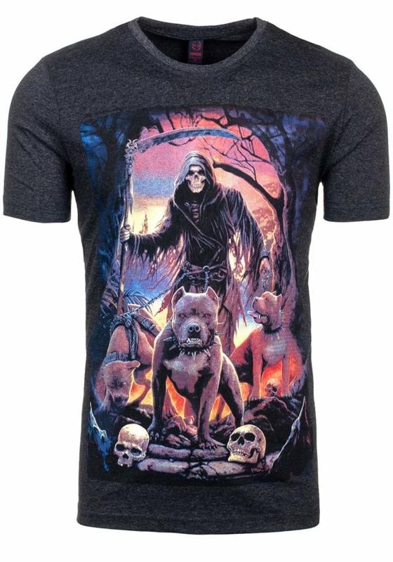 Antracitové pánské tričko s potiskem Bolf 3218