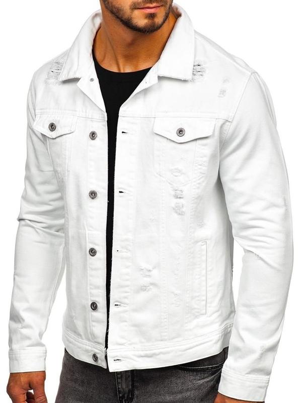 Bílá pánská džínová bunda Bolf 55111