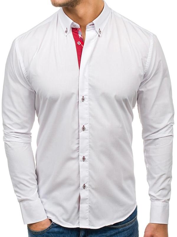 Bílá pánská elegantní košile s dlouhým rukávem Bolf 6930