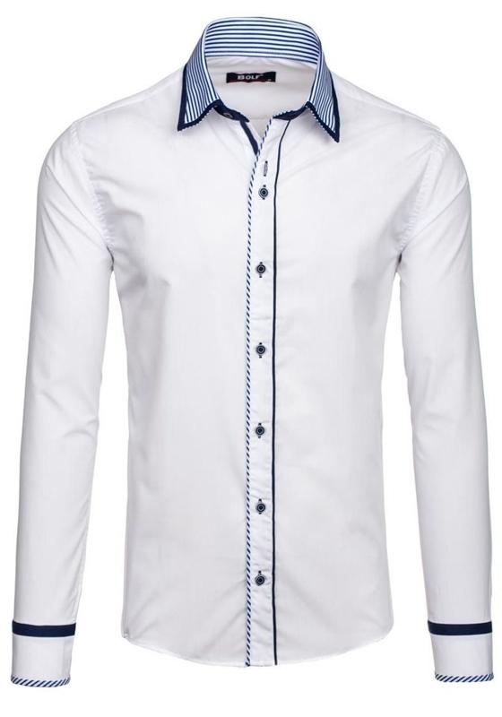 Bílá pánská elegantní košile s dlouhým rukávem Bolf 6935