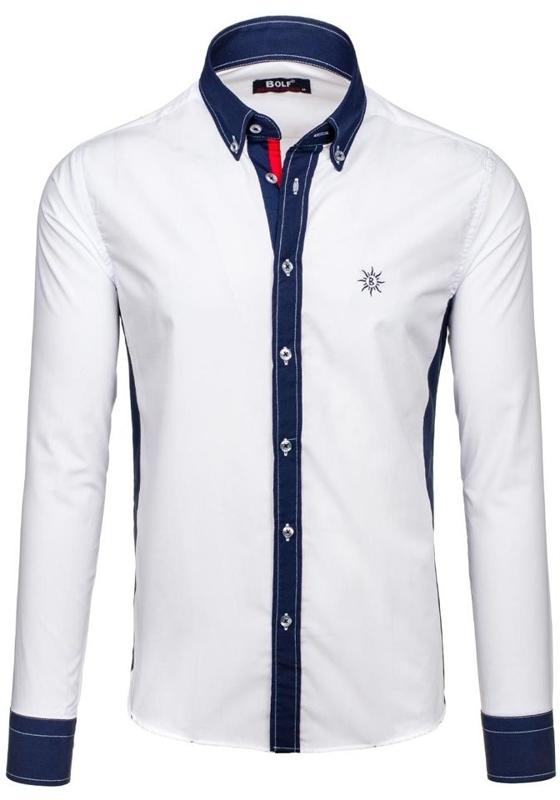 Bílá pánská košile s dlouhým rukávem Bolf 6853