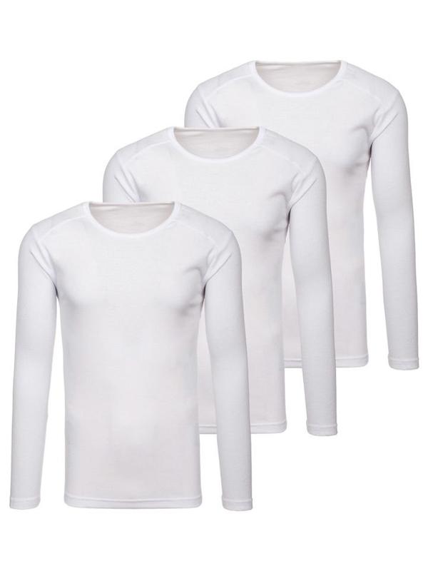 Bílá pánská trička s dlouhým rukávem bez potisku 3 Pack Bolf C10046-3P