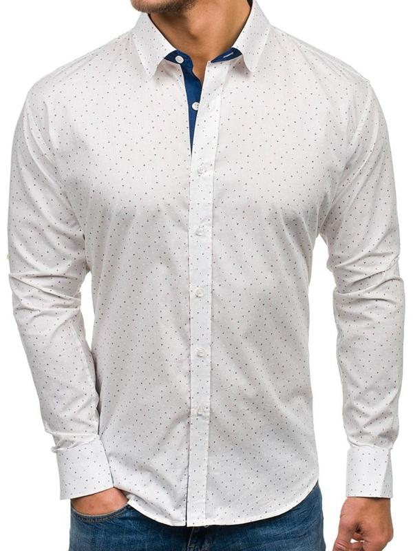 Bílá pánská vzorovaná košile s dlouhým rukávem Bolf GET1013