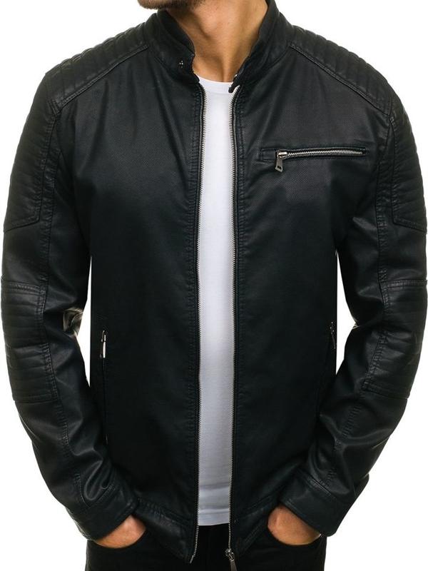 Černá pánská koženková bunda Bolf 1031