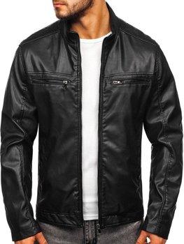 Černá pánská koženková bunda Bolf 1131