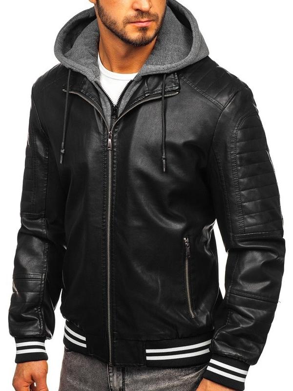 Černá pánská koženková bunda Bolf 1133
