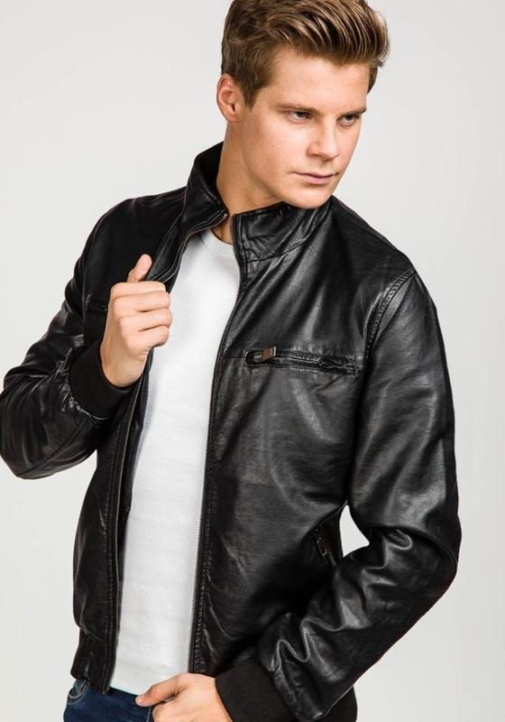 Černá pánská koženková bunda Bolf 8005