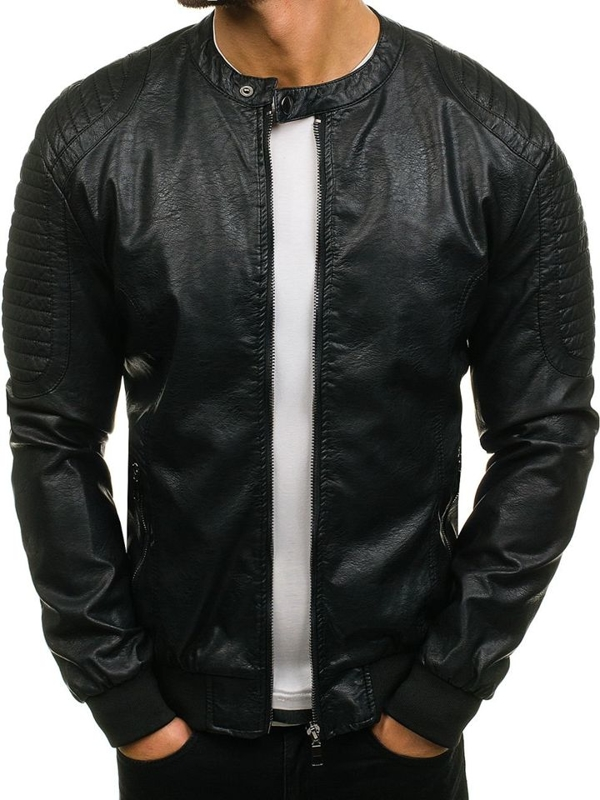 Černá pánská koženková bunda Bolf 8803