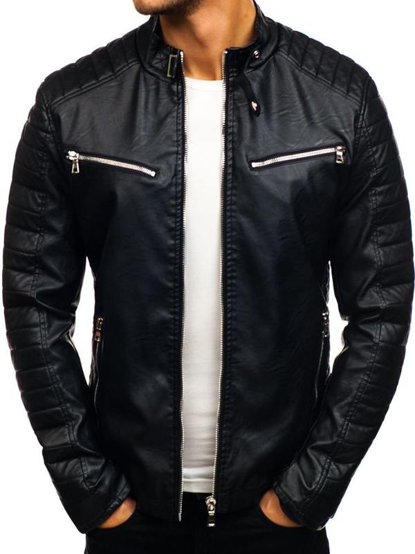 Černá pánská koženková bunda Bolf 9111