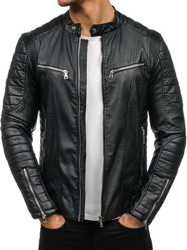Černá pánská koženková bunda Bolf 9136
