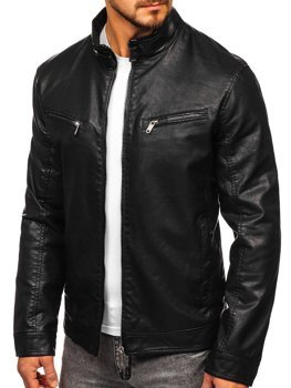 Černá pánská koženková bunda biker Bolf 2010