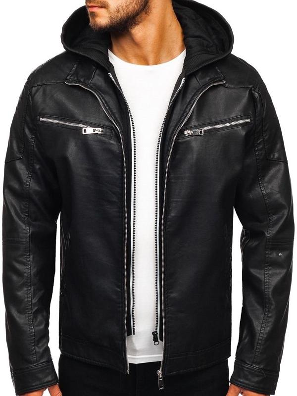 Černá pánská koženková bunda s kapucí Bolf 5809