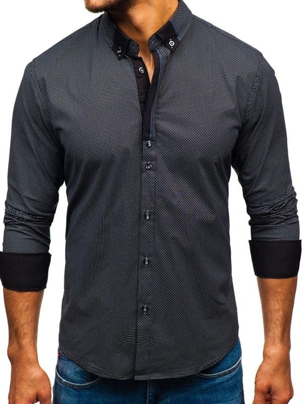 Černá pánská vzorovaná košile s dlouhým rukávem Bolf 8844D