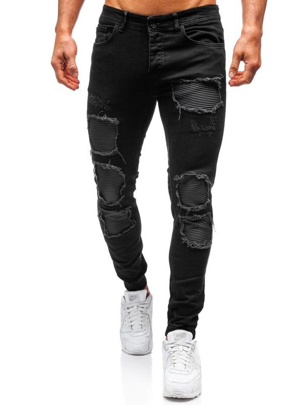 Černé pánské džínové jogger kalhoty Bolf 820