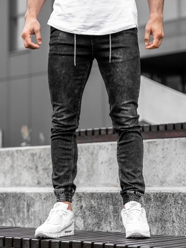 Černé pánské džínové jogger kalhoty Bolf KA1278