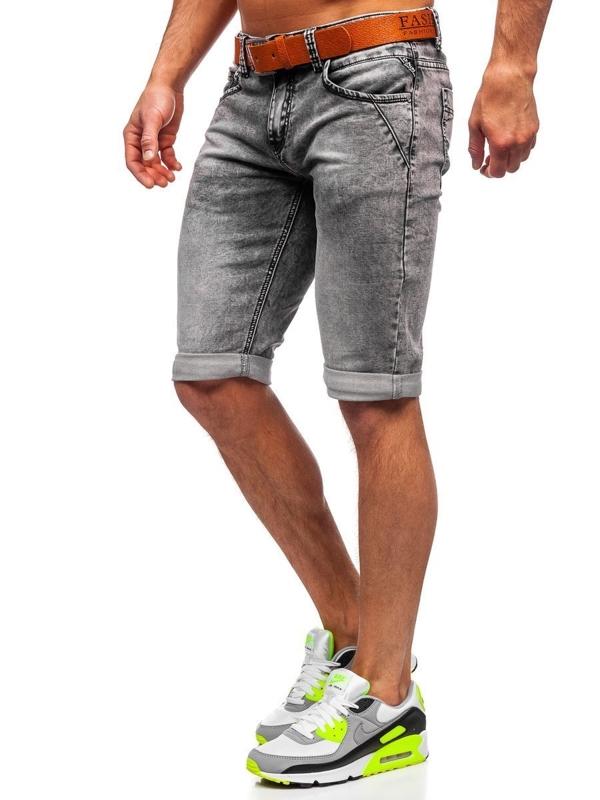 Černé pánské džínové kraťasy Bolf KR1211