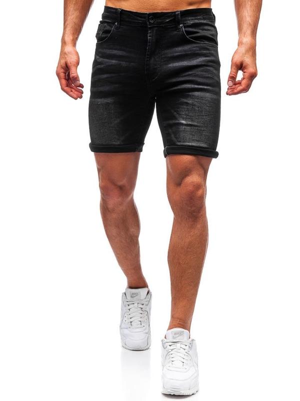 Černé pánské džínové kraťasy Bolf T572