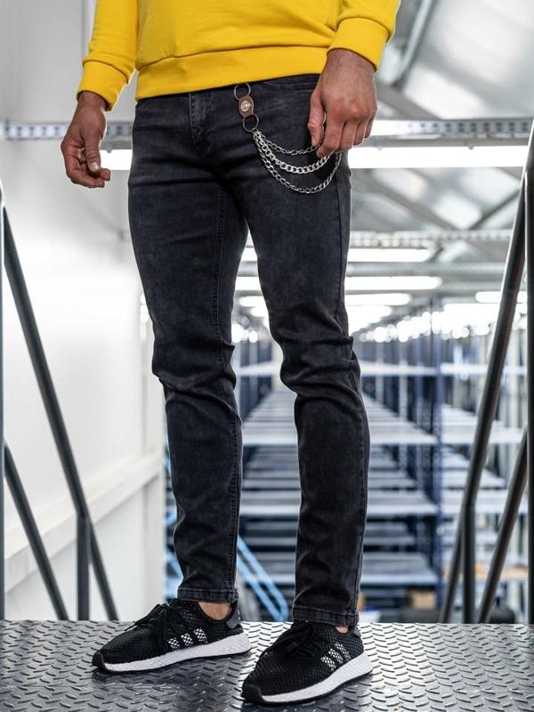 Černé pánské džíny straight leg Bolf KA1232-1