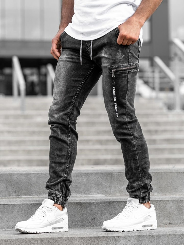 Černé pánské jogger kalhoty Bolf KA689-3