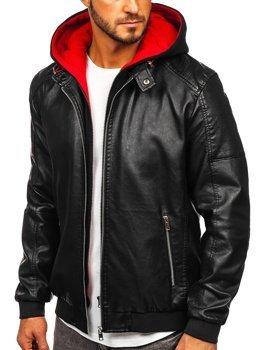 Černo-červená pánská koženková bunda s kapucí Bolf 6132