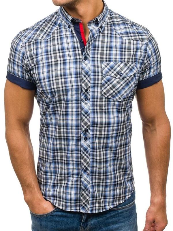 Černo-modrá pánská kostkovaná košile s krátkým rukávem Bolf 5206