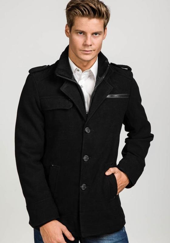 Černý pánský zimní kabát Bolf 1691