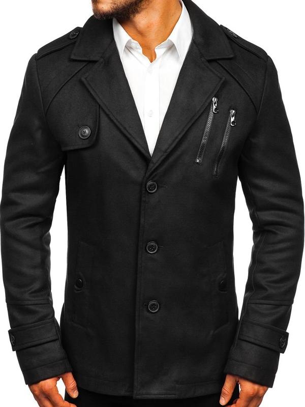 Černý pánský zimní kabát Bolf 3135