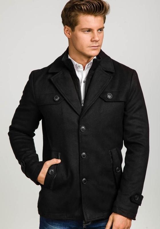 Černý pánský zimní kabát Bolf 3141