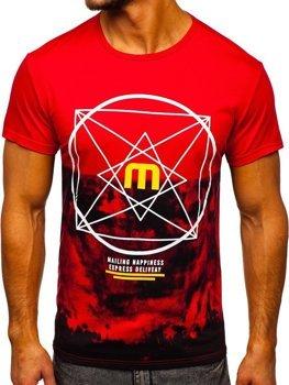Červené pánské tričko s potiskem Bolf 10887