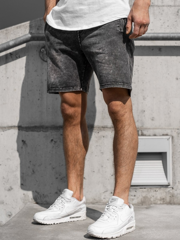 Grafitové pánské džínové kraťasy Bolf KK106
